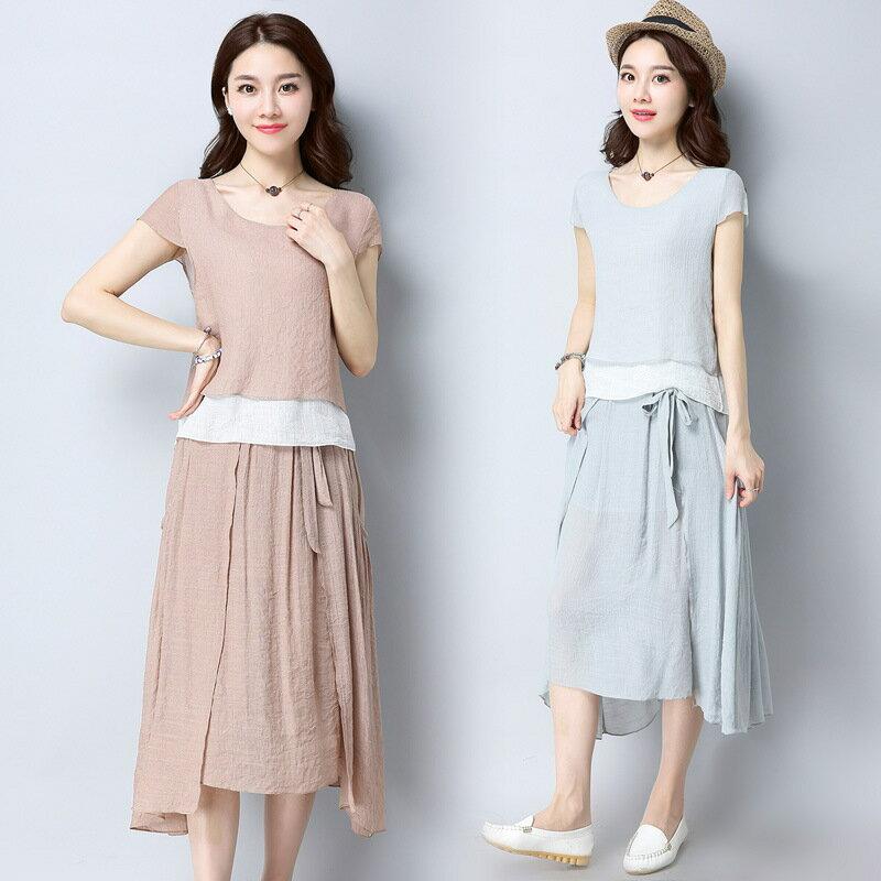 文藝風上衣+裙子 (2色,M-2XL)