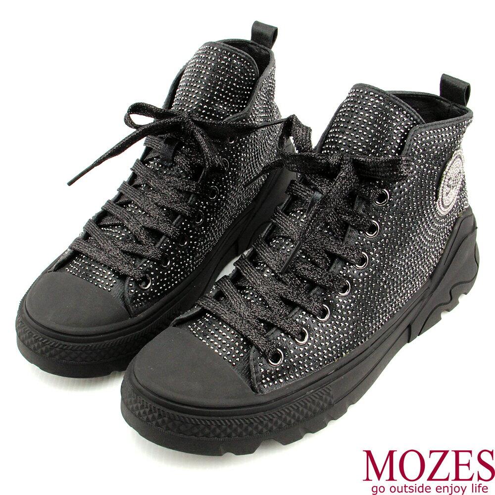 【MOZES】率性綁帶水鑽中跟氣墊中筒靴 1