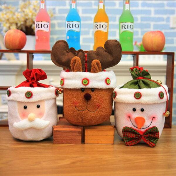 糖衣子輕鬆購【DZ0371】聖誕節裝飾品禮品袋聖誕老人雪人禮物袋糖果袋鈴鐺裝飾禮物袋