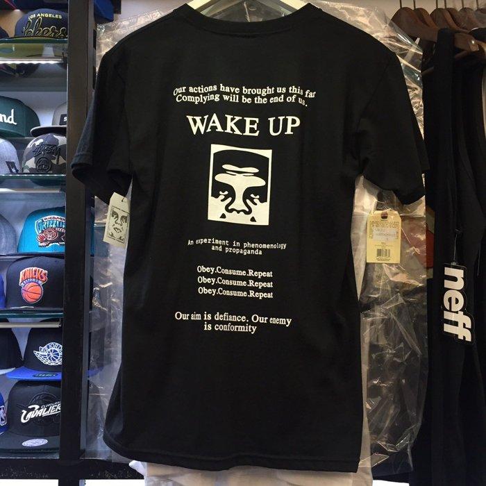 BEETLE PLUS 西門町經銷 全新 美國品牌 OBEY WAKE UP 起床 水藍 黑 黑白 人臉標 文字 LOGO 短TEE 163081065BLK OB-400 1