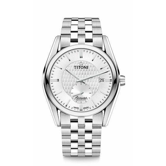 TITONI瑞士梅花錶83709S-500空中霸王雙色小秒針機械腕錶白面40mm