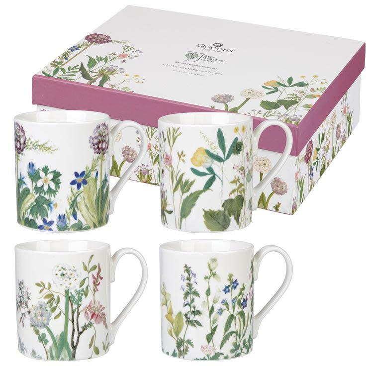 英國Queens - 四入馬克杯禮盒 (西瑪拉雅花卉)