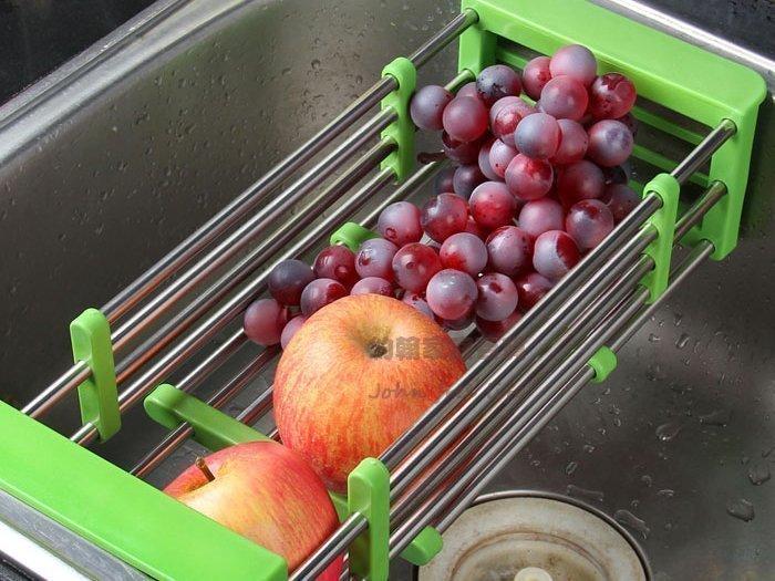 約翰家庭百貨》【AA240】不鏽鋼可伸縮水槽瀝水架 蔬菜置物架 碗碟收納架 4色可選