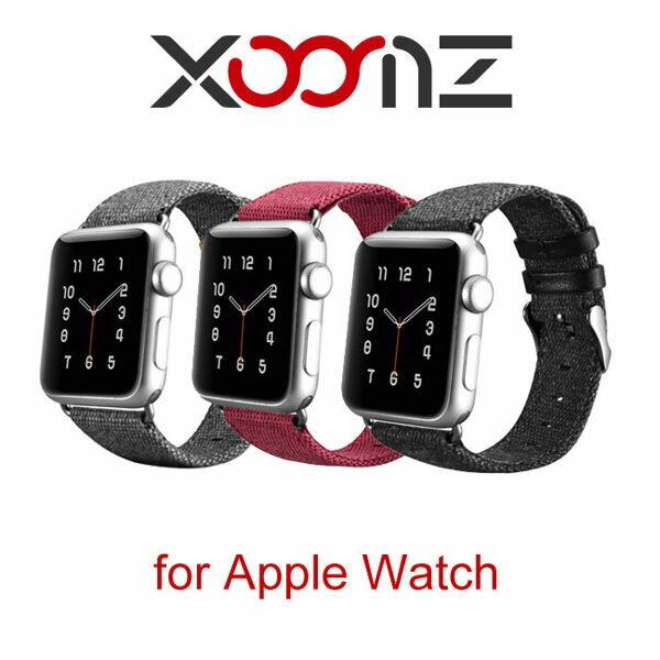【愛瘋潮】99免運XOOMZ布藝系列AppleWatch38mm42mm(1代2代3代)手工撞色錶帶