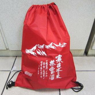 ~雪黛屋~寒夜客來超輕簡單束口後背包折疊收納放口袋 超輕耐重備用袋萬用袋好攜帶..紅