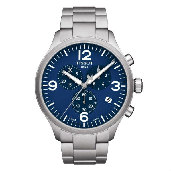 TISSOT天梭錶CHRONOXLT1166171104700時尚計時腕錶藍面45mm
