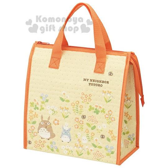 〔小禮堂〕宮崎駿 Totoro 龍貓 不織布保冷提袋《黃.朋友.花》內裡鋁箔保冷材質