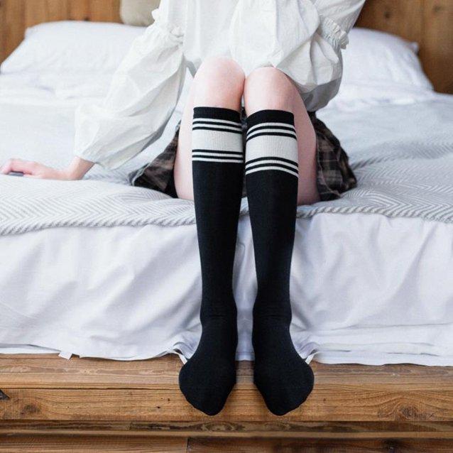及膝襪 襪子 條紋襪子女小腿襪潮ins及膝襪韓國學院風日系學生長筒襪夏季薄款『快速出貨』  秋冬新品特惠