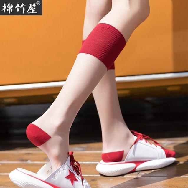 及膝襪 襪子 襪子女小腿襪透明水晶襪夏季薄款ins潮長襪中筒襪玻璃 絲襪及膝襪『快速出貨』  秋冬新品特惠
