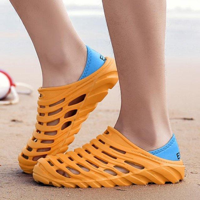 夏季防水雨鞋膠鞋防滑洗車工作鞋男士沙灘洞洞鞋戶外溯溪涉水鞋男 秋冬新品特惠