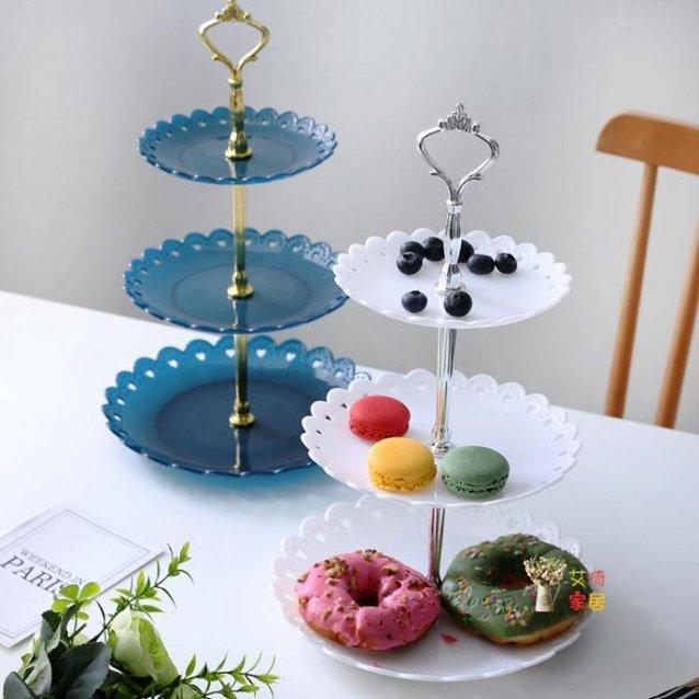 點心盤 歐式塑料三層水果盤子藍客廳創意多層蛋糕架家用糖果干果點心托盤 6色 秋冬新品特惠