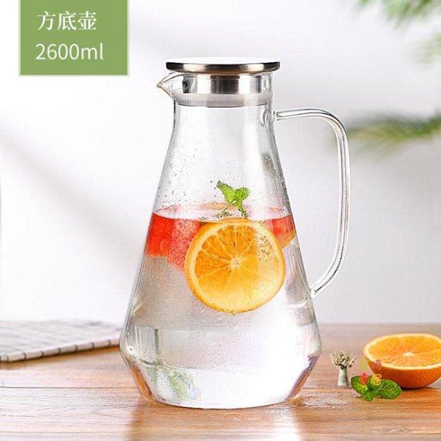 冷水壺 涼水壺玻璃耐熱高溫家用大容量水瓶涼白開茶壺冷水壺2600ML 秋冬新品特惠