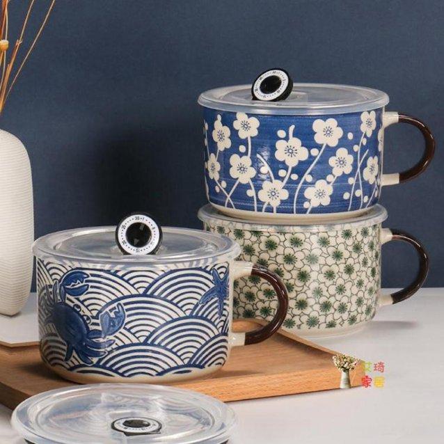 泡麵碗 家用創意日式便當盒卡通可愛飯盒陶瓷泡麵碗帶蓋學生宿舍大湯碗 4色 秋冬新品特惠