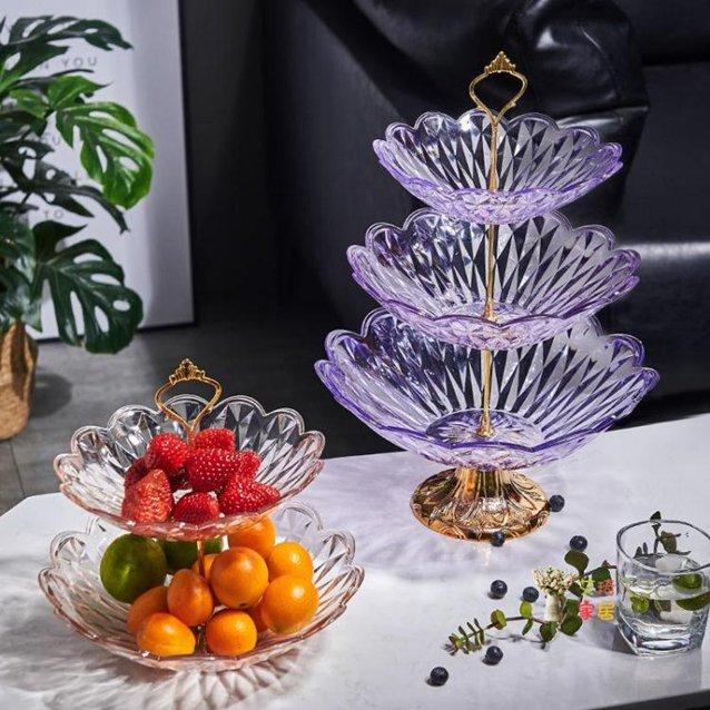 點心盤 創意多層水果盤客廳茶幾歐式糖果盆家用桌面零食收納籃干果點心盤 5色 『718狂歡節』