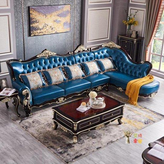 L型沙發 歐式黑檀色實木皮質L型轉角沙發組合 美式小戶型客廳家具T 秋冬新品特惠