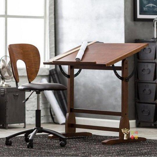 繪圖桌 美式書桌實木書桌工作臺繪圖畫桌設計師繪圖桌繪畫桌 可調節畫桌T 秋冬新品特惠