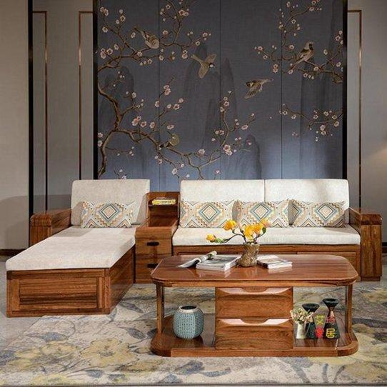 L型沙發 實木沙發轉角沙發L型沙發儲物沙發烏金木沙發現代新中式客廳組合T 秋冬新品特惠