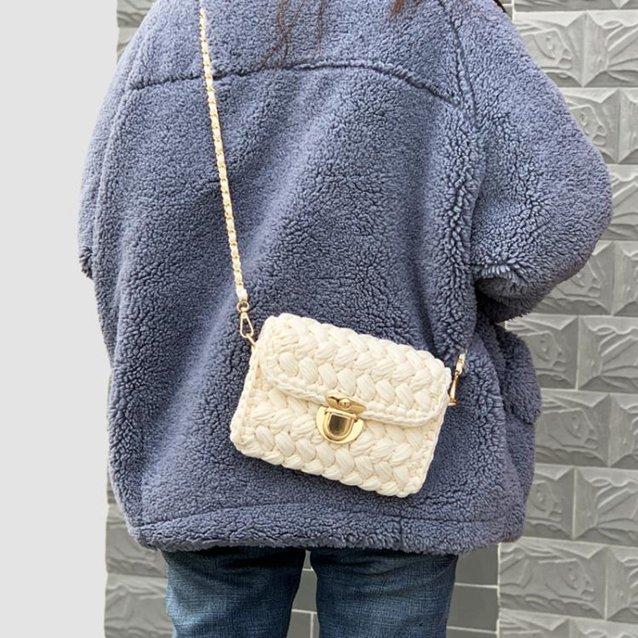 手工包包泫雅同款編織包包diy材料手工編織鉤針布條線自制小香風ins網紅包  『718狂歡節』