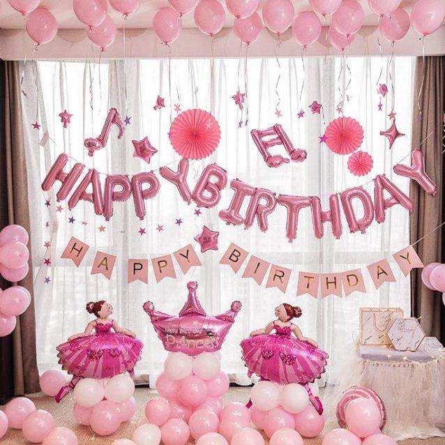 網紅生日裝飾場景布置派對趴體裝飾品女孩兒童主題快樂氣球背景牆 秋冬新品特惠