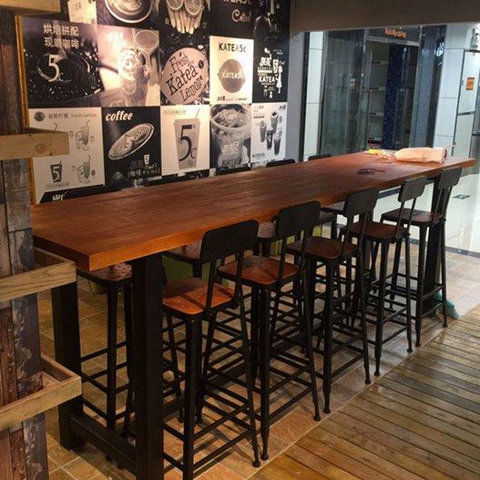 吧臺桌北歐實木長條桌咖啡廳吧臺靠牆高腳凳酒吧桌鐵藝家用吧臺桌椅組合  秋冬新品特惠