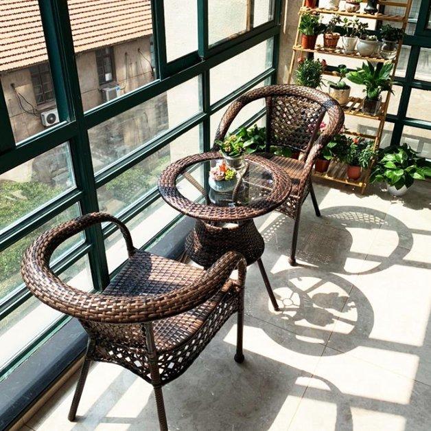 戶外桌椅藤椅三件套組合休閒簡約庭院網紅騰滕椅子戶外室外陽臺小茶幾  『718狂歡節』