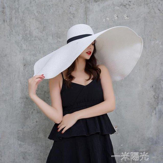 法式海邊度假草帽女沙灘超大帽檐帽子女夏遮陽帽防曬太陽帽可捲邊  秋冬新品特惠