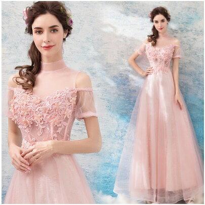 天使嫁衣【AE779】粉色性感透視網紗立領收腰美感焦點長禮服˙預購訂製款