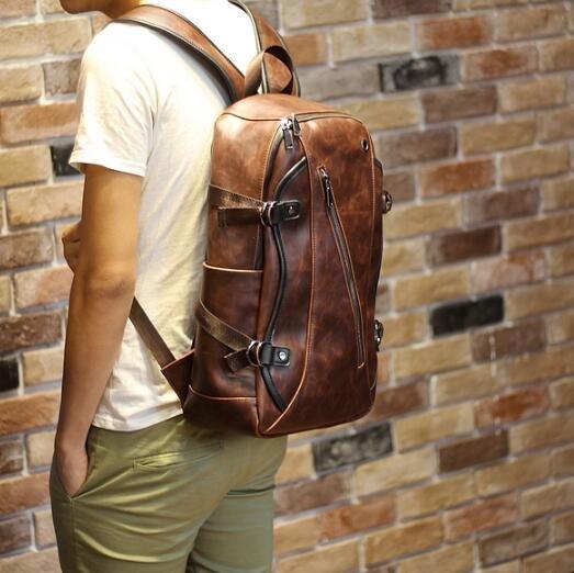 FINDSENSE Z1 韓國 時尚 潮 男 復古皮質 斜拉鏈 休閒 旅行包 電腦包 學生包 書包 後背包 雙肩包