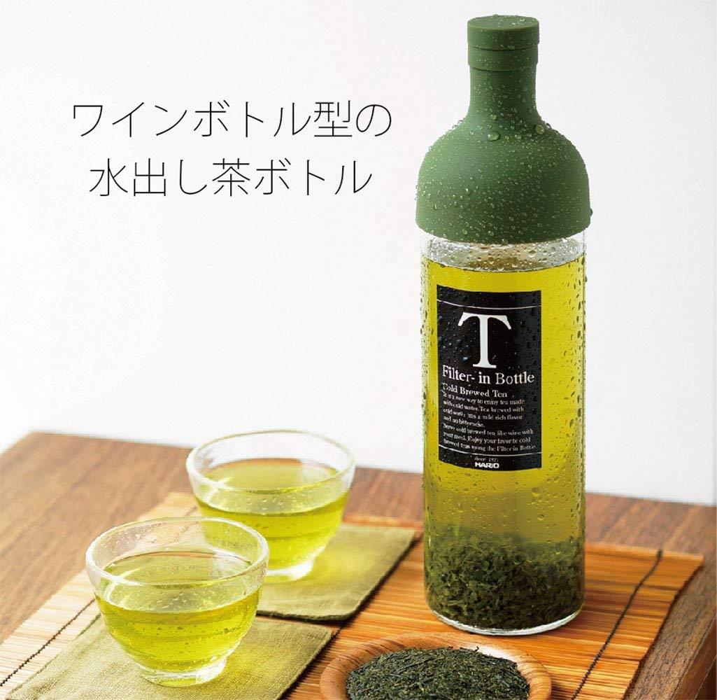 日本公司貨 HARIO 酒瓶造型冷泡茶玻璃水壺 750ml 橄欖綠 FIB-75-OG