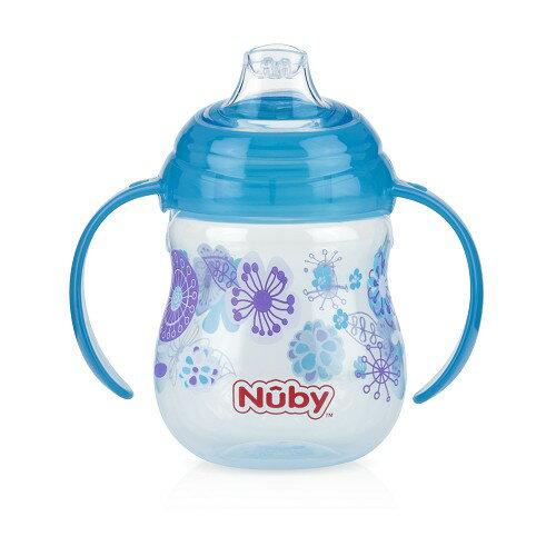 Nuby - 卡拉防漏雙耳飲嘴杯 270ml 藍色幾何款 卡拉杯系列任二件加贈Nuby - 多功能水杯帶!