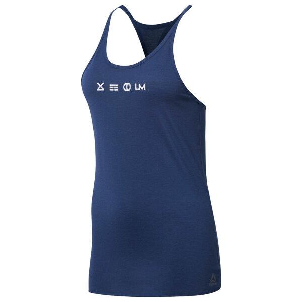 REEBOKLMSUPREMIUMTANK2.0女裝上衣背心挖背休閒速乾舒適透氣藍白【運動世界】CD6208