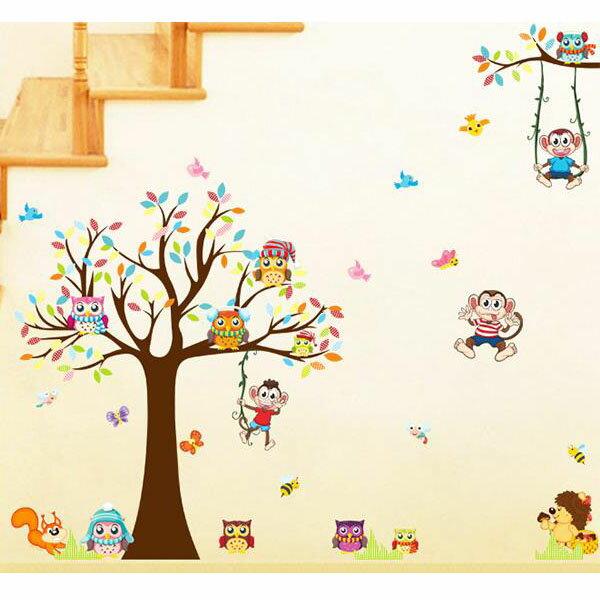 BO雜貨【YV2878-1】創意可重覆貼壁貼臥室客廳兒童房幼兒園卡通樹猴子XL8192