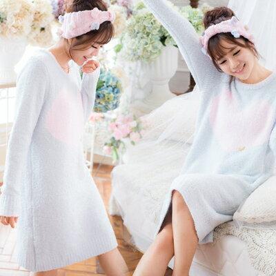 極保暖!!!高科技毛線-冬季長袖睡衣-日系愛心睡裙