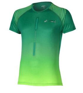 [陽光樂活]ASICS亞瑟士男漸層印花慢跑T恤127804-0496綠色