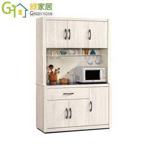 【綠家居】漢納時尚4尺木紋玻璃餐櫃收納櫃組合(上+下座)