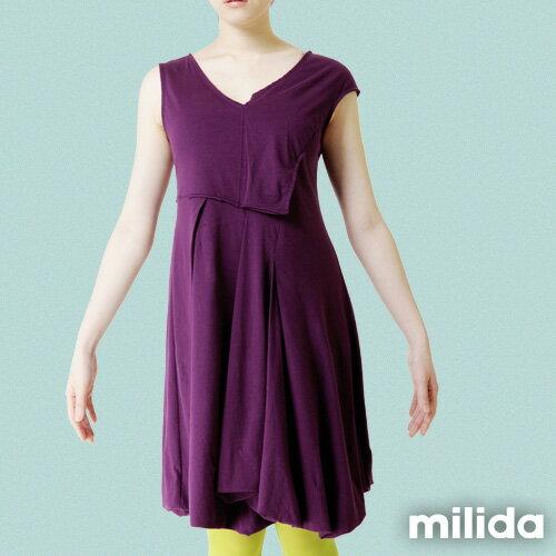 【Milida,全店七折免運】-夏季洋裝-無袖款-百搭V領百摺款 8