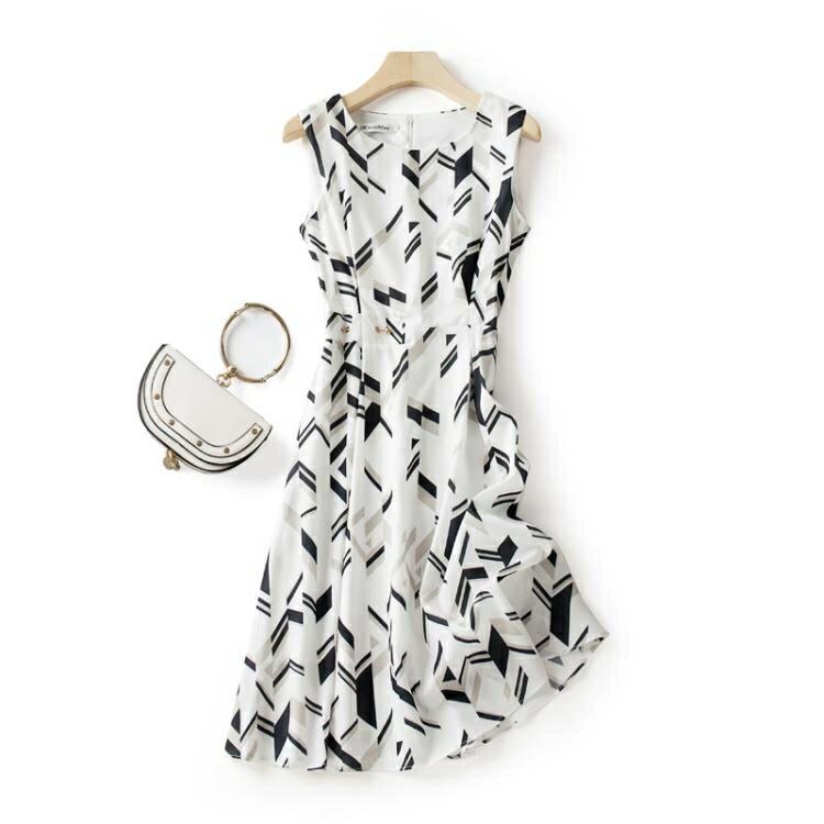 鉅惠夯貨無袖洋裝 連身裙女2020新款夏季吊帶雪紡收腰顯瘦溫柔風無袖碎花氣質女神范