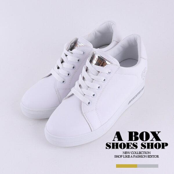【KT8806】6.5CM內增高休閒鞋百搭素色玫瑰刺繡皮革面休閒小白鞋2色