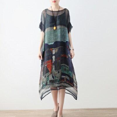 連身長裙寬版連衣裙-輕薄兩件套桑蠶絲繪畫女上衣73sm52【獨家進口】【米蘭精品】 0