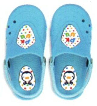 藍色企鵝 兒童園丁拖鞋~16 17 18 19 20號 藍 紅 P40503