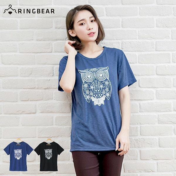 短袖T恤--森林感手繪風格貓頭鷹印圖竹節棉上衣(黑.藍XL-5L)-T208眼圈熊中大尺碼 0