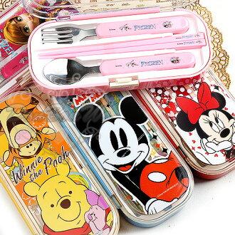 迪士尼冰雪奇緣米奇米妮維尼湯匙叉子筷子餐具收納盒組多款冰264373海度