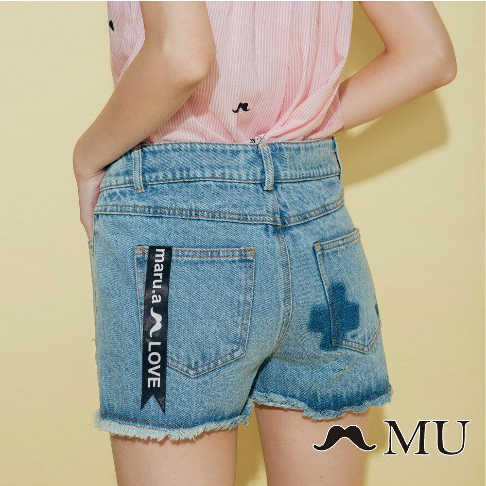【MU】符號刷色抽鬚牛仔丹寧短褲(2色)8325161 2