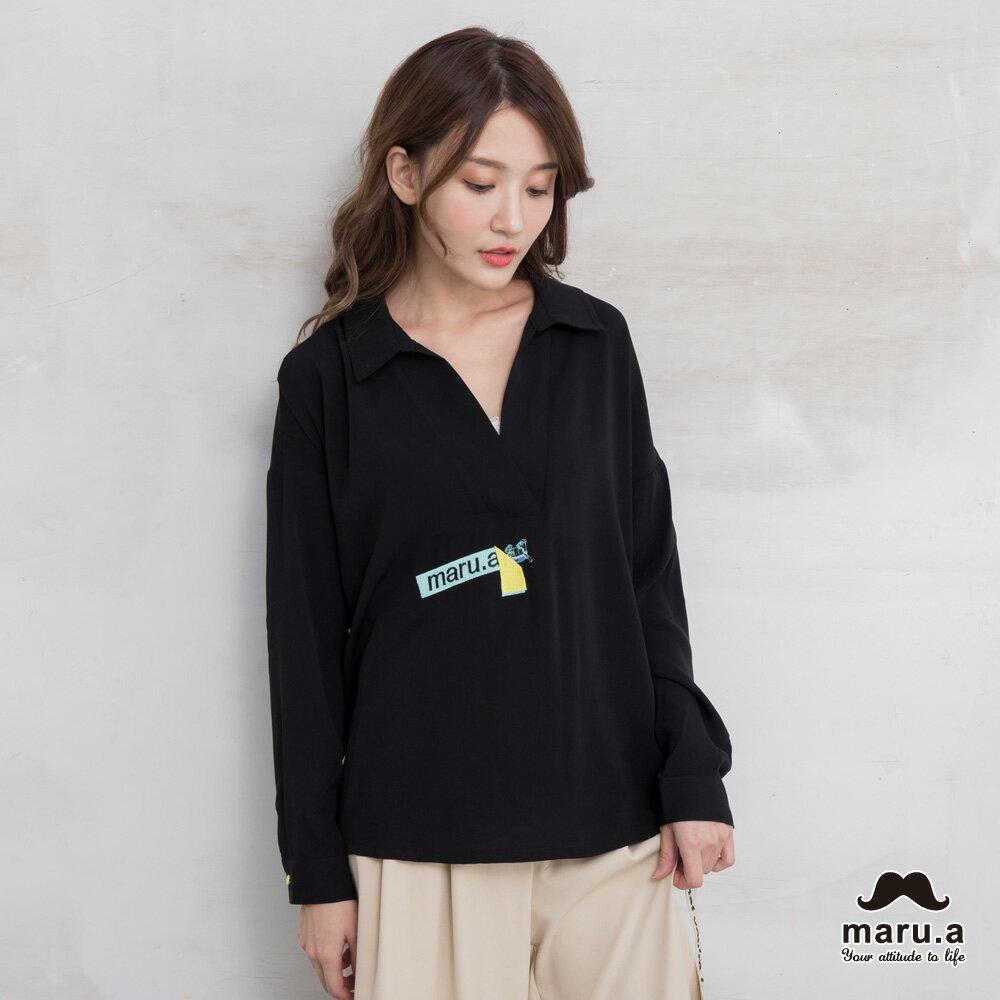 【maru.a】烏龜躲貓貓刺繡低領襯衫(2色)7923114 0