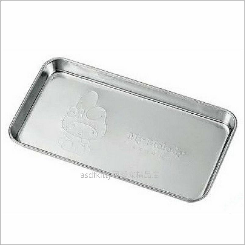 asdfkitty可愛家☆美樂蒂長方型(角型)不鏽鋼置物盤/小物盤/小鐵盤-日本製
