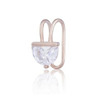 玫瑰金耳環鑲鑽純銀耳飾~簡約獨特 潮流七夕情人節 女飾品73hz72~ ~~米蘭 ~