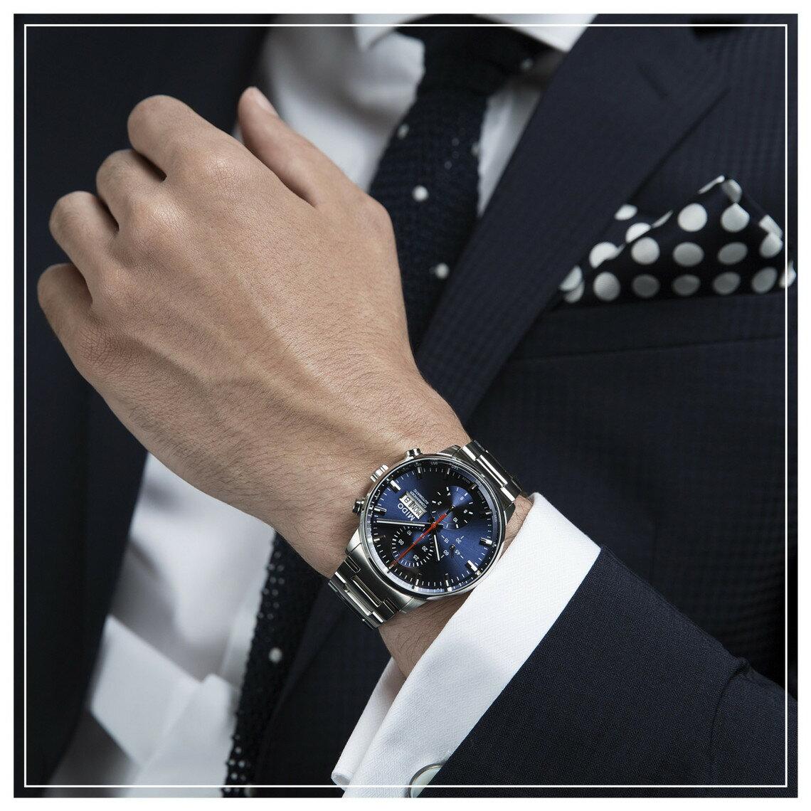 MIDO 美度 M0164141104100 Commander 指揮官系列機械腕錶 藍 銀 42.5mm 4