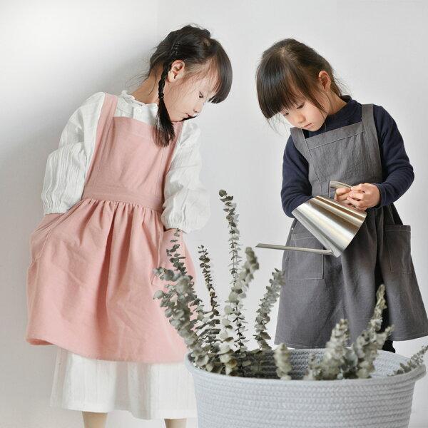【巴芙洛】小孩款棉麻圍裙(2色可選)