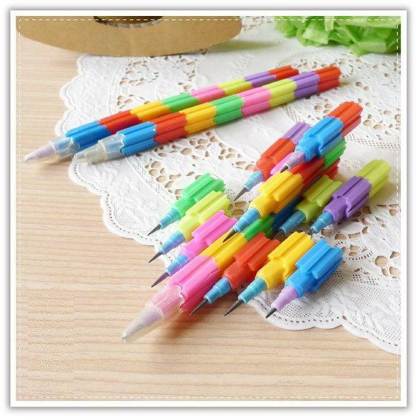 【積木彩虹鉛筆】彩虹筆 鉛筆 積木筆 婚禮小物 標記筆 水彩筆 創意文具 簽字筆 可愛卡通 贈品