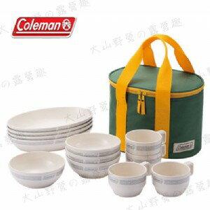 【露營趣】中和安坑 附手電筒 Coleman CM-26765 晶格餐盤組/白 餐具組 碗 盤子 杯子